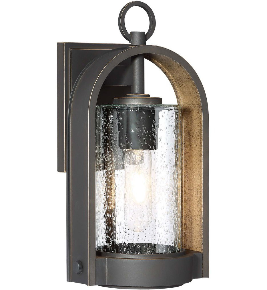 The Great Outdoors - 72451-143C - Kamstra Oil Rubbed Bronze with Gold Highlights 13.5 Inch 1 Light Outdoor Wall Lantern