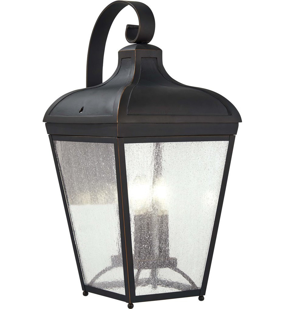 The Great Outdoors - 72483-143C - Marquee Oil Rubbed Bronze with Gold Highlights 20.5 Inch 4 Light Outdoor Wall Lantern