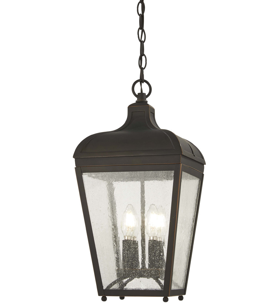 The Great Outdoors - 72484-143C - Marquee Oil Rubbed Bronze with Gold Highlights 4 Light Outdoor Hanging Lantern