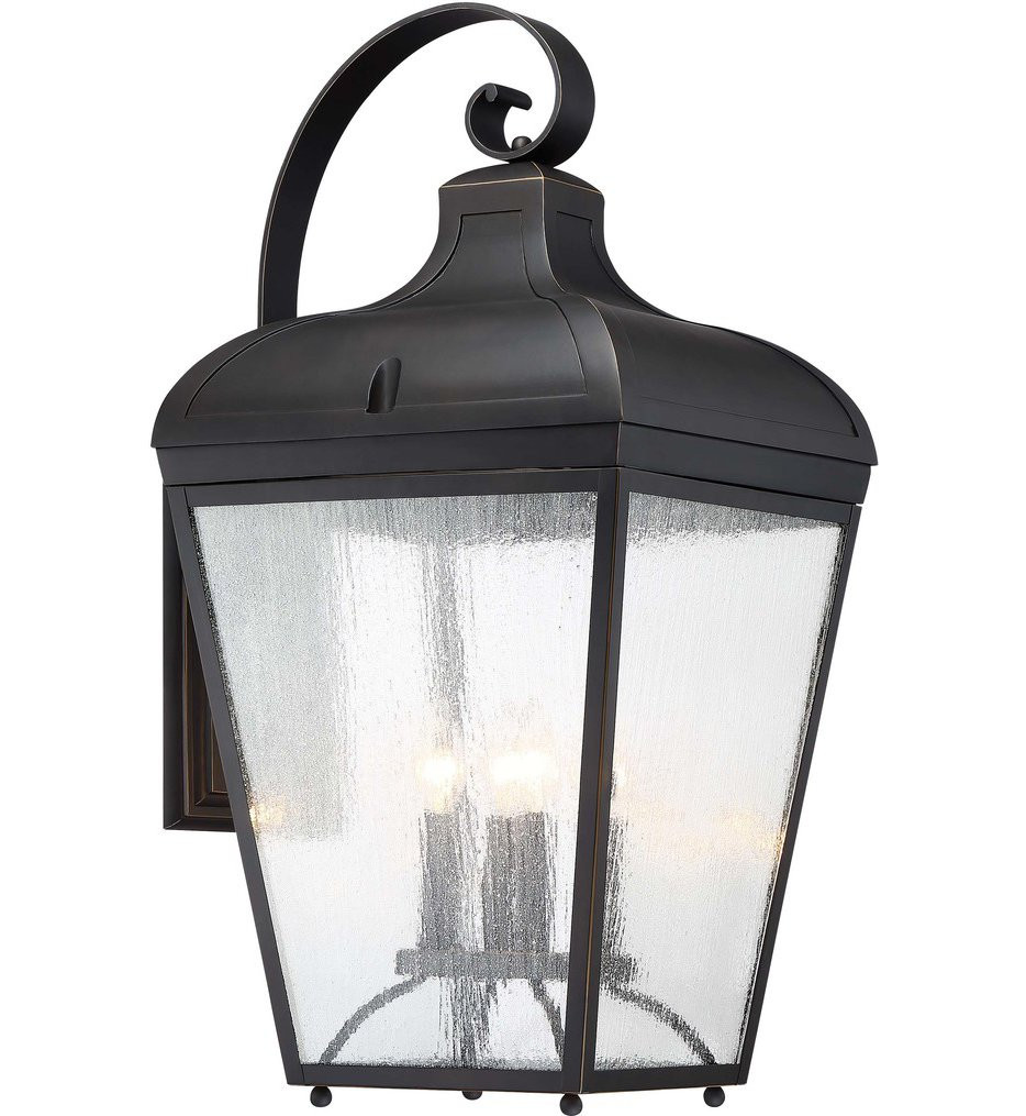 The Great Outdoors - 72487-143C - Marquee Oil Rubbed Bronze with Gold Highlights 29 Inch 4 Light Outdoor Wall Lantern