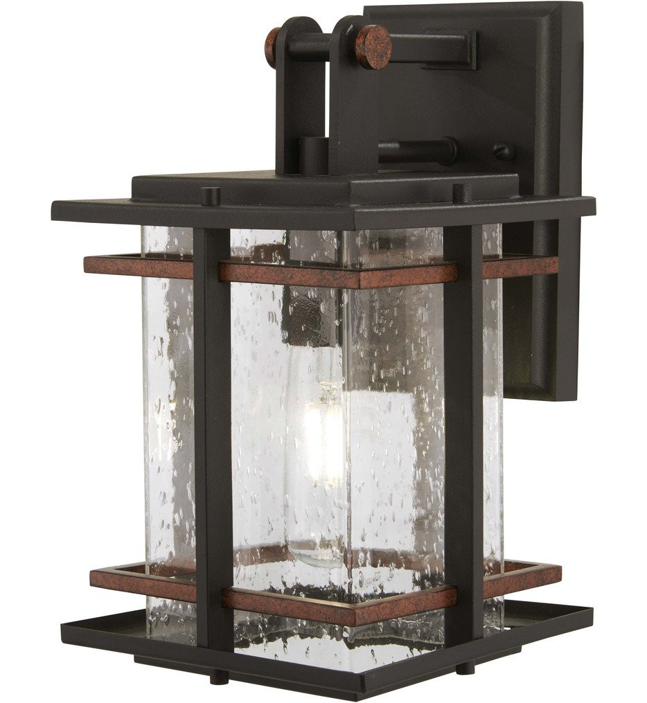 The Great Outdoors - 72491-68 - San Marcos Black with Antique Copper Accents 11.25 Inch 1 Light Outdoor Wall Lantern