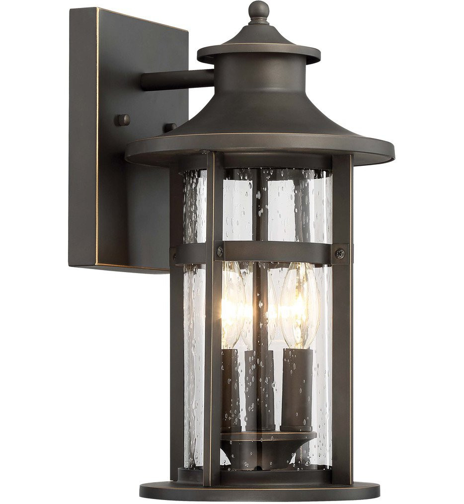 The Great Outdoors - 72552-143C - Highland Ridge Oil Rubbed Bronze with Gold Highlights 3 Light Outdoor Wall Lantern