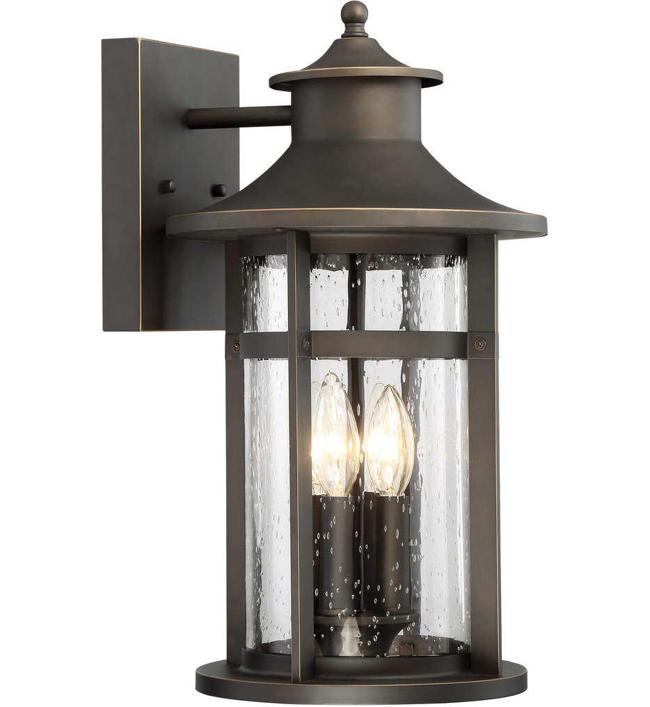 The Great Outdoors - 72553-143C - Highland Ridge Oil Rubbed Bronze with Gold Highlights 17.75 Inch 4 Light Outdoor Wall Lantern