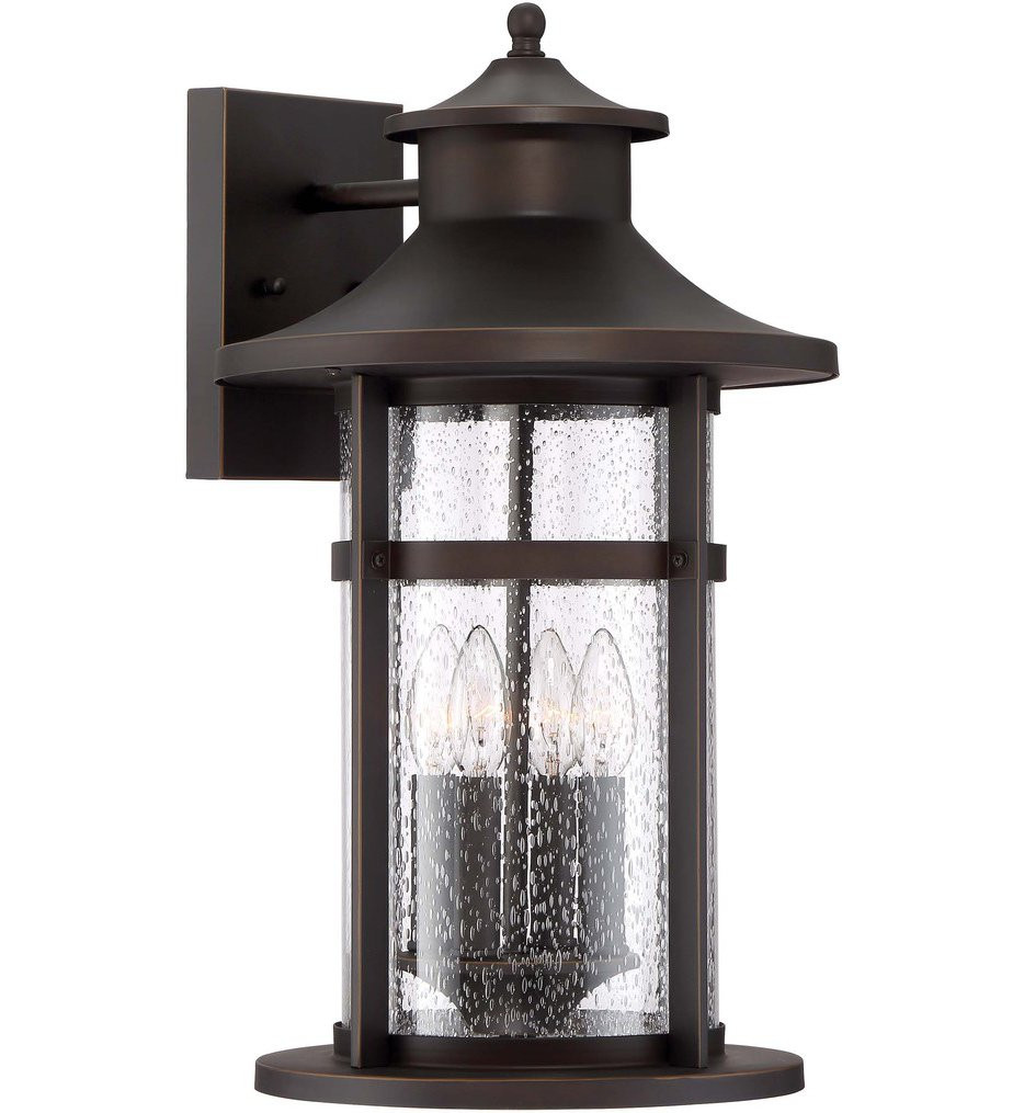 The Great Outdoors - 72557-143C - Highland Ridge Oil Rubbed Bronze with Gold Highlights 20.75 Inch 4 Light Outdoor Wall Lantern