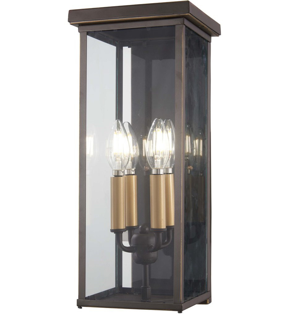 The Great Outdoors - 72582-143C - Casway Oil Rubbed Bronze with Gold Highlights 17 Inch 4 Light Outdoor Hanging Lantern
