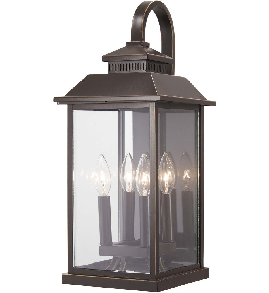 The Great Outdoors - 72592-143C - Miner's Loft Oil Rubbed Bronze with Gold Highlights 20.75 Inch 4 Light Outdoor Wall Lantern