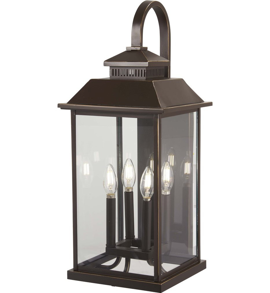 The Great Outdoors - 72593-143C - Miner's Loft Oil Rubbed Bronze with Gold Highlights 25.5 Inch 4 Light Outdoor Wall Lantern