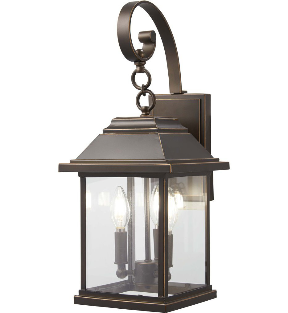 The Great Outdoors - 72632-143C - Mariner's Pointe Oil Rubbed Bronze with Gold Highlights 3 Light Outdoor Wall Lantern