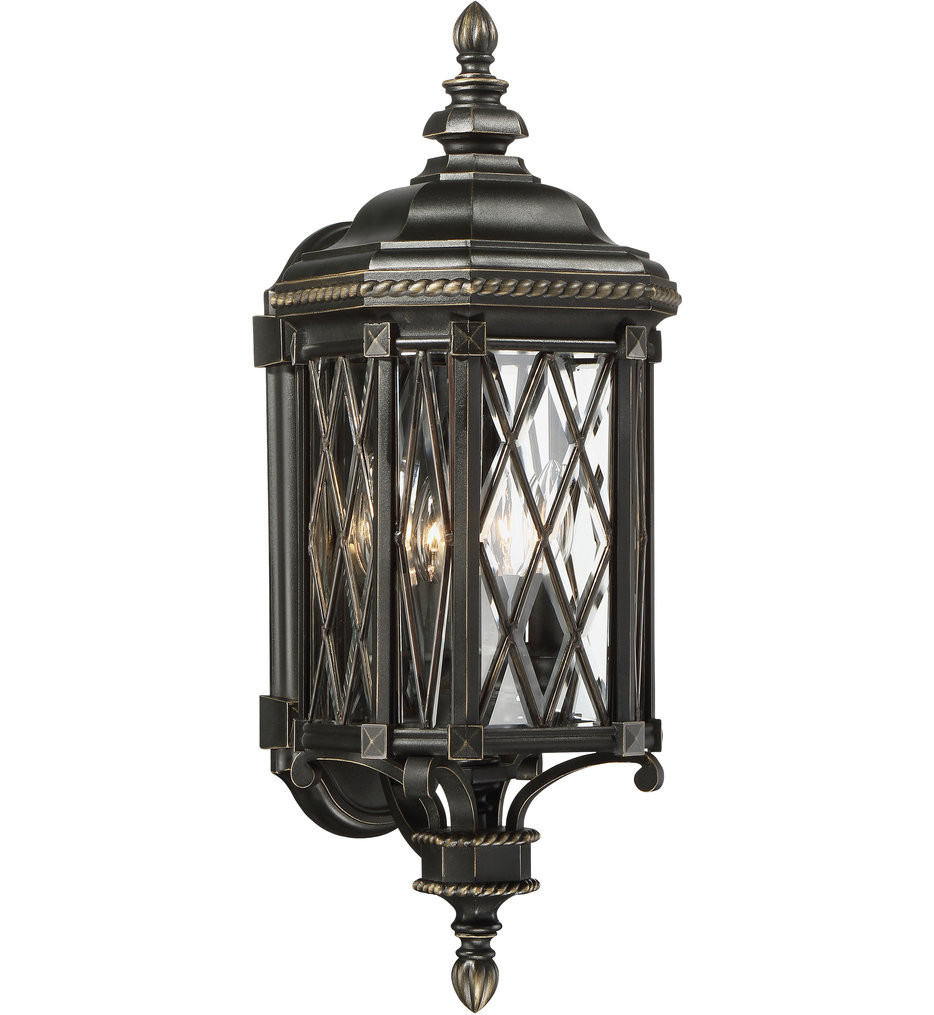 The Great Outdoors - 9321-585 - Bexley Manor Black with Gold Highlights 25.25 Inch 4 Light Outdoor Wall Lantern