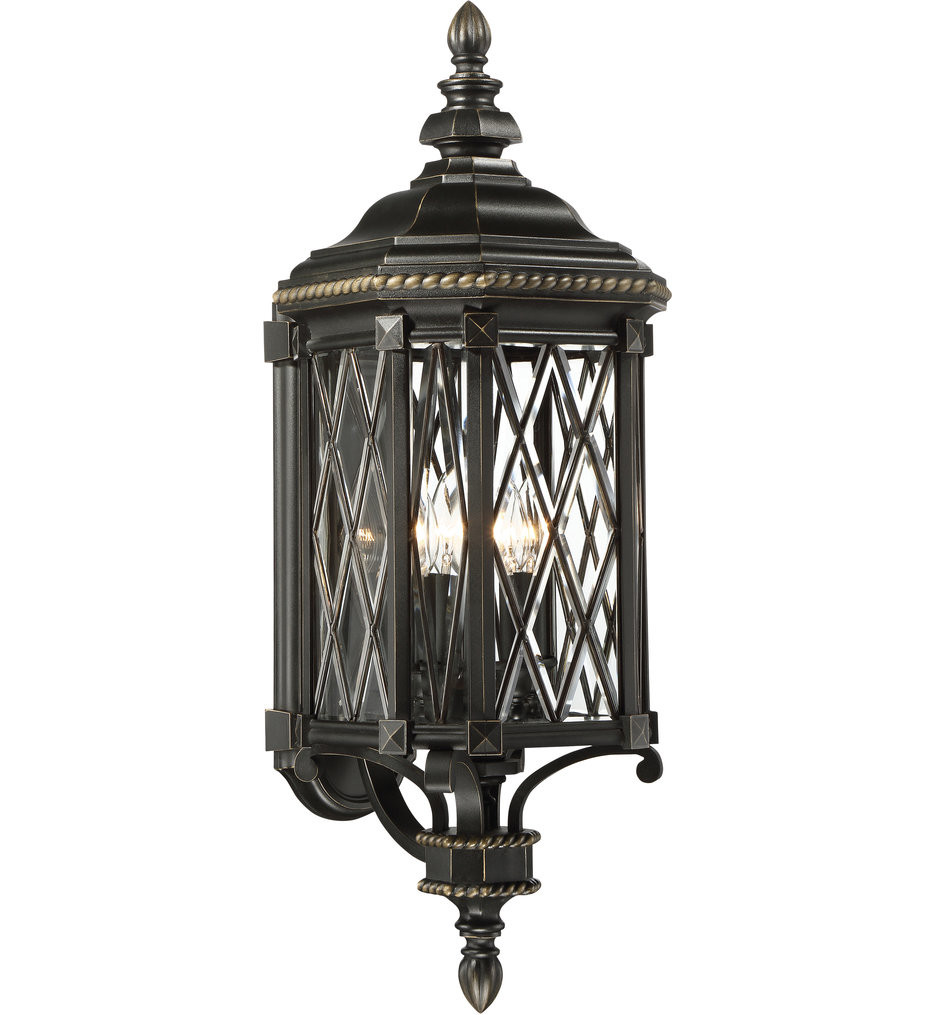 The Great Outdoors - 9322-585 - Bexley Manor Black with Gold Highlights 31.75 Inch 4 Light Outdoor Wall Lantern