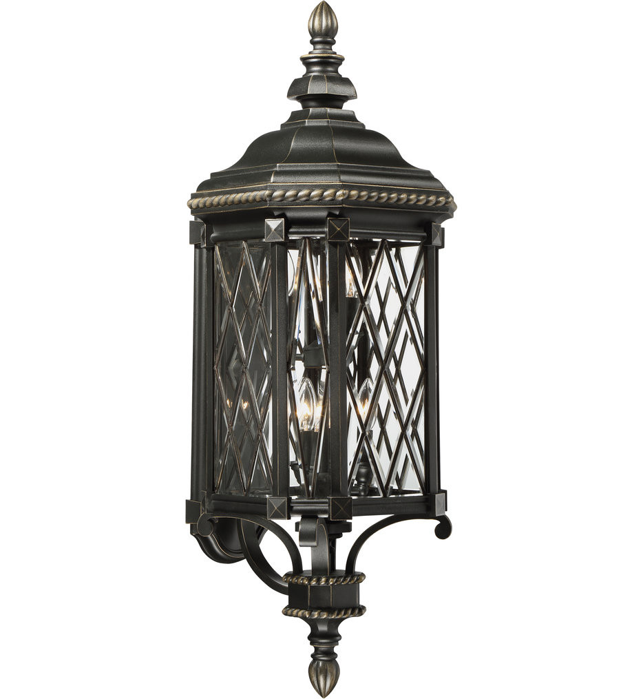 The Great Outdoors - 9323-585 - Bexley Manor Black with Gold Highlights 37.75 Inch 6 Light Outdoor Wall Lantern