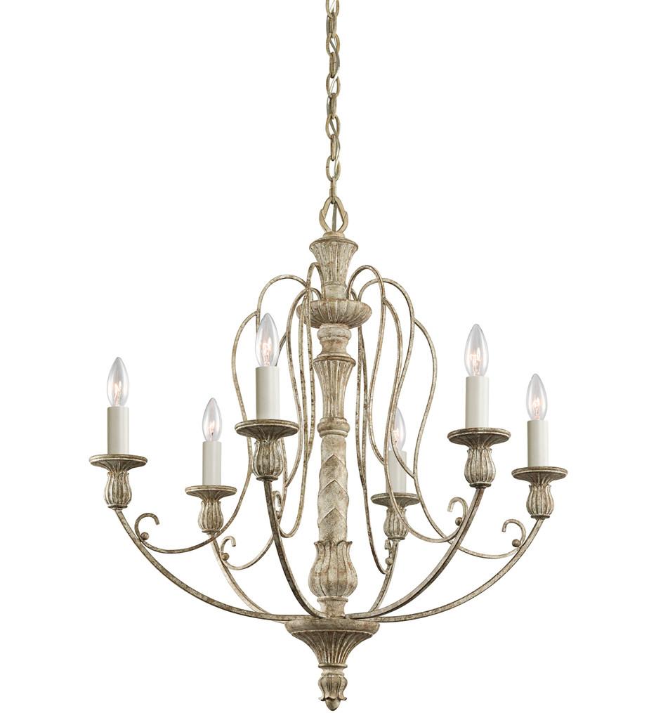 Kichler - 43257DAW - Hayman Bay Distressed Antique White 27 Inch 6 Light Chandelier