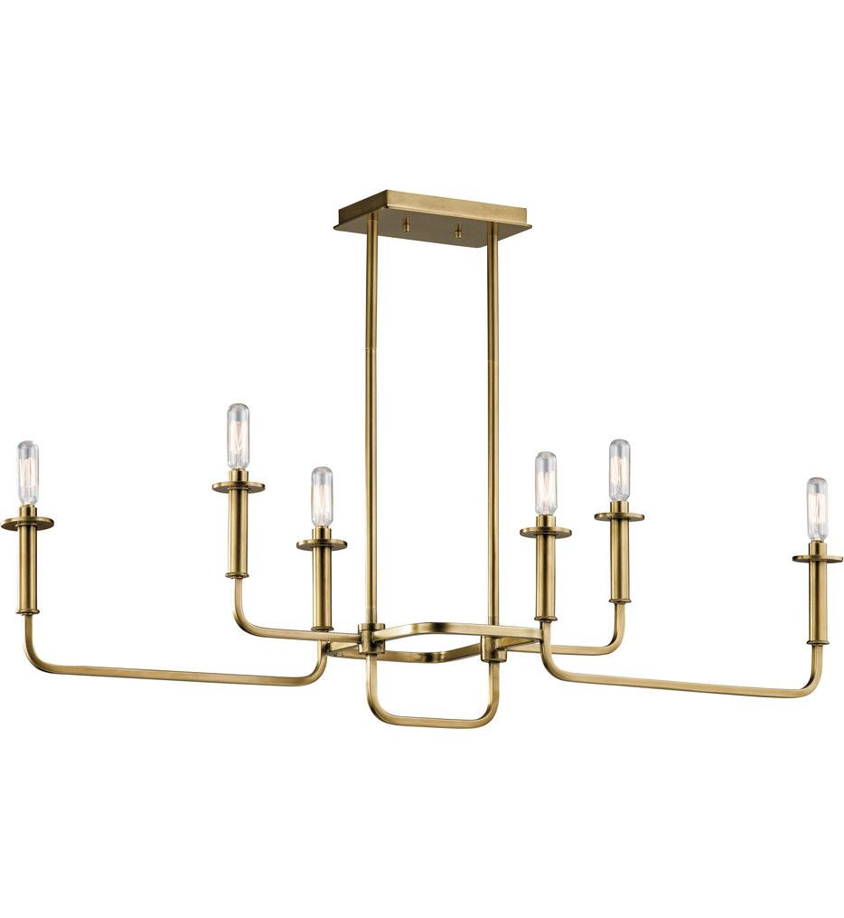 Kichler - 43362NBR - Alden Natural Brass 6 Light Linear Chandelier