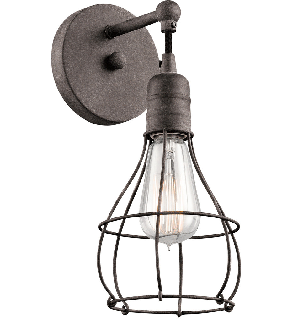 Kichler - 43603WZC - Industrial Cage Weathered Zinc 5.5 Inch 1 Light Wall Sconce