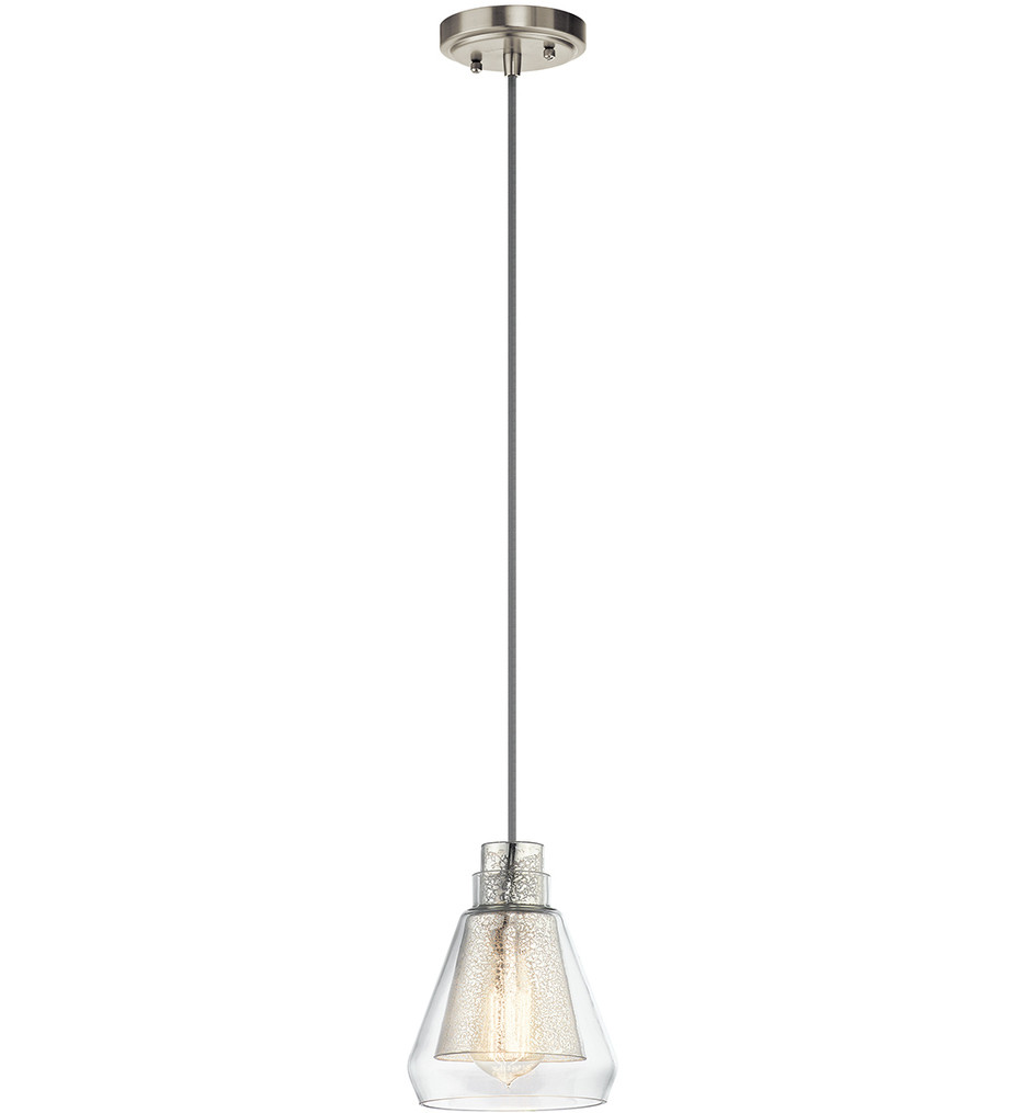 Kichler - 43624NI - Evie Brushed Nickel 6.5 Inch 1 Light Mini-Pendant