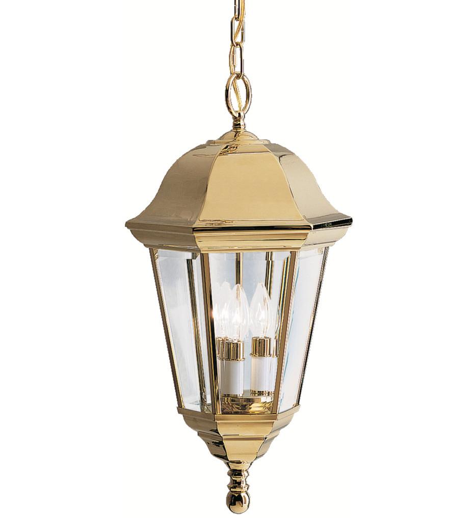 Kichler - 9889PB - Grove Mill Polished Brass 11.5 Inch 3 Light Outdoor Pendant