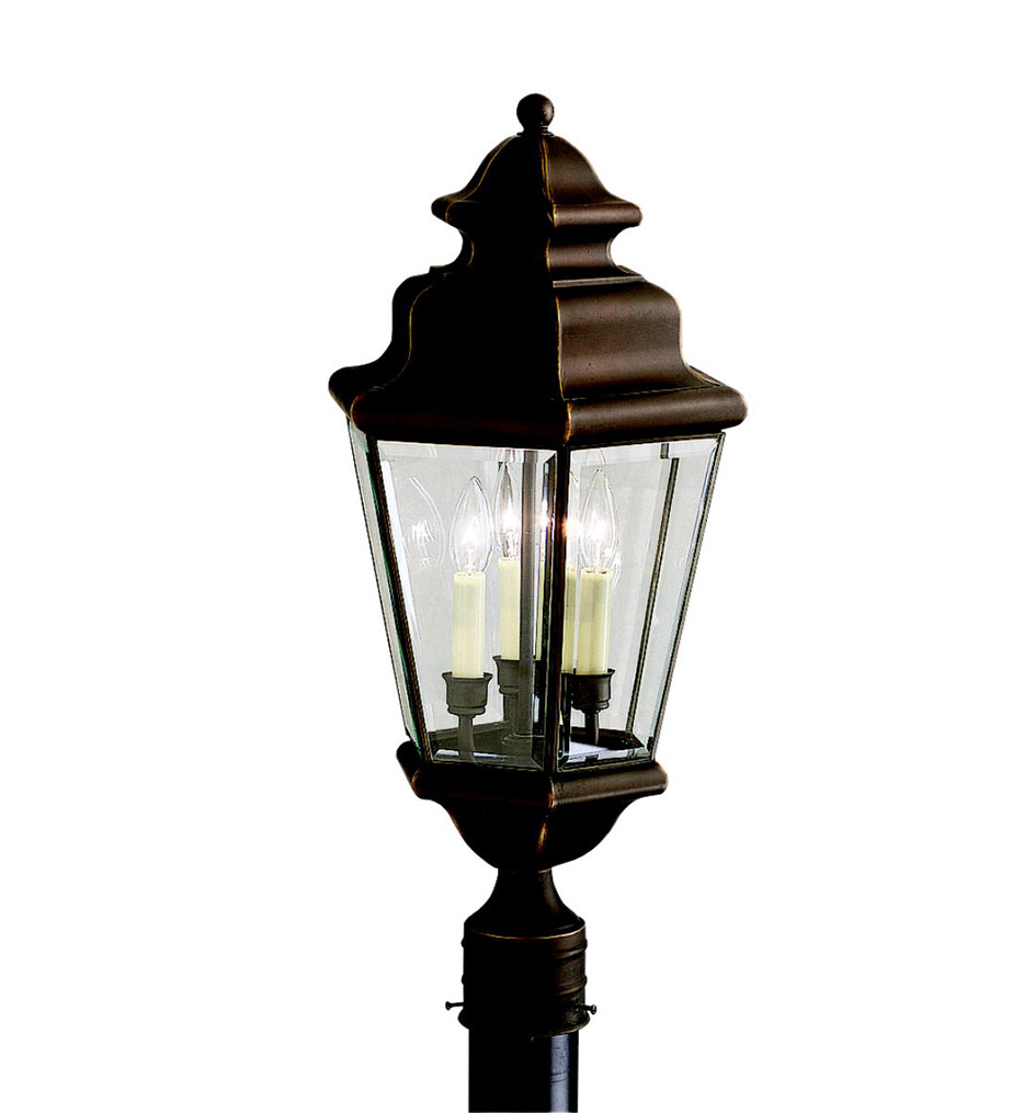 Kichler - 9931OZ - Savannah Estates Olde Bronze 12.25 Inch 3 Light Outdoor Post Lantern