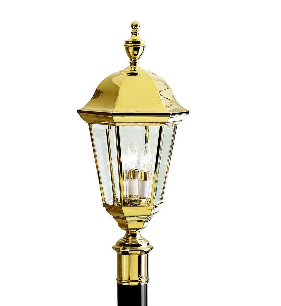 Kichler - 9989PB - Grove Mill Polished Brass 9.75 Inch 3 Light Outdoor Post Lantern