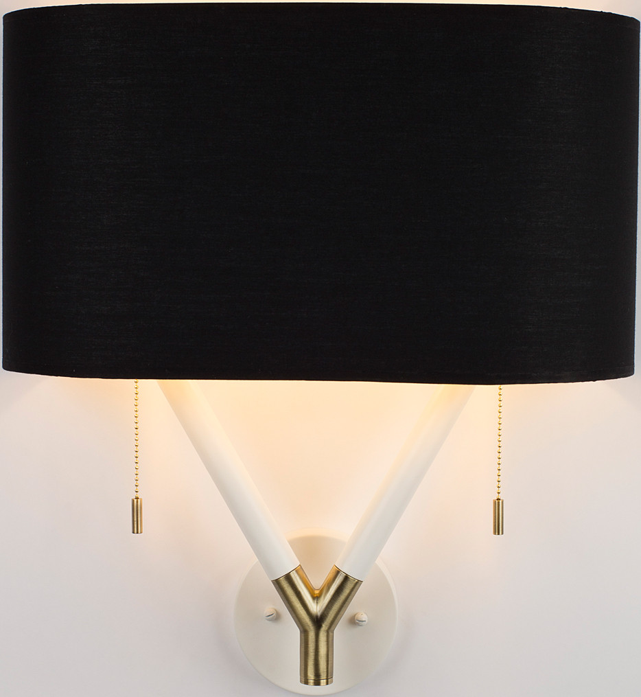 Lights Up! - Blip Brass & White Lacquer 20 Inch Wall Sconce