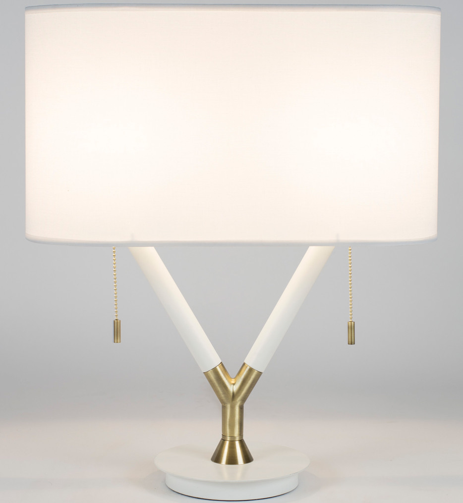 Lights Up! - Blip Brass & White Lacquer 22 Inch Table Lamp