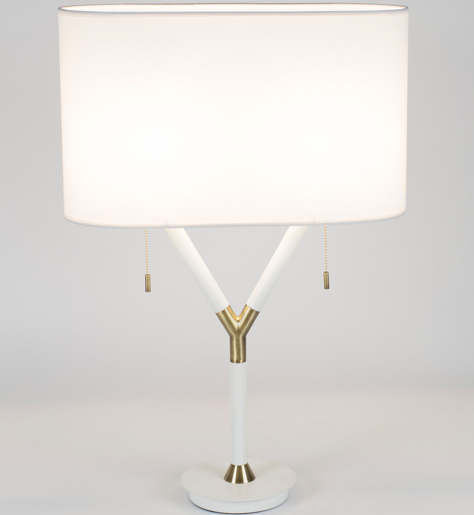 Lights Up! - Blip Brass & White Lacquer 30 Inch Table Lamp