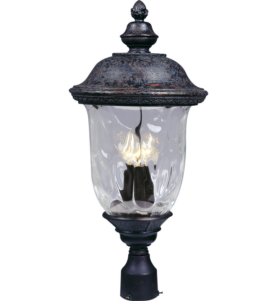 Maxim Lighting - 3420WGOB - Carriage House Oriental Bronze 26.5 Inch 3 Light Incandescent Outdoor Post Light