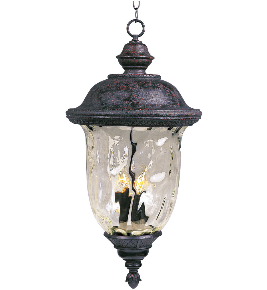 Maxim Lighting - 3428WGOB - Carriage House Oriental Bronze 28 Inch 3 Light Incandescent Outdoor Hanging Lantern