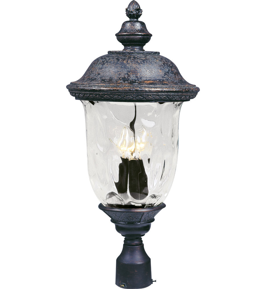 Maxim Lighting - 40420WGOB - Carriage House Oriental Bronze 26.5 Inch 3 Light Incandescent Outdoor Post Light