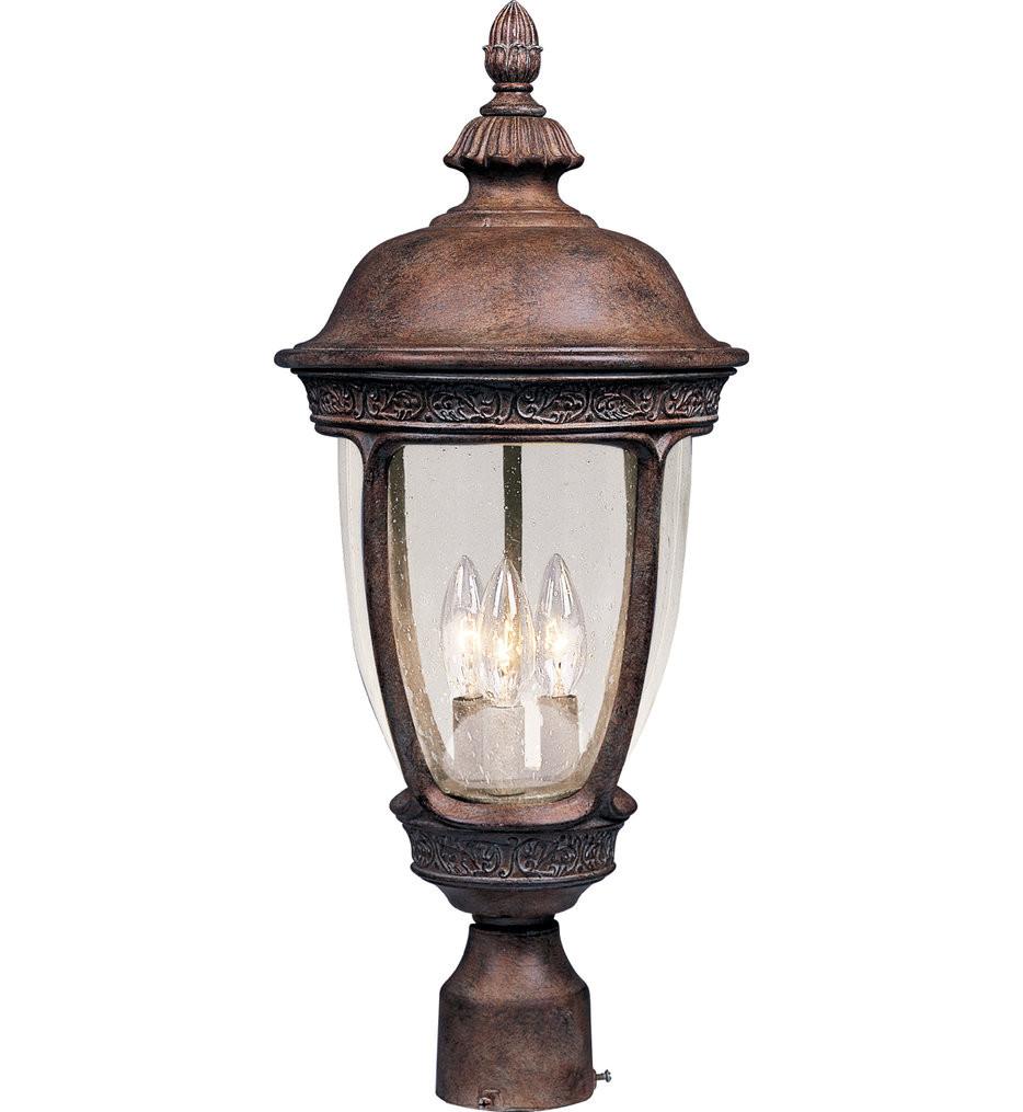 Maxim Lighting - 40460CDSE - Knob Hill Sienna Incandescent 3 Light Outdoor Post Light with Seedy Shade