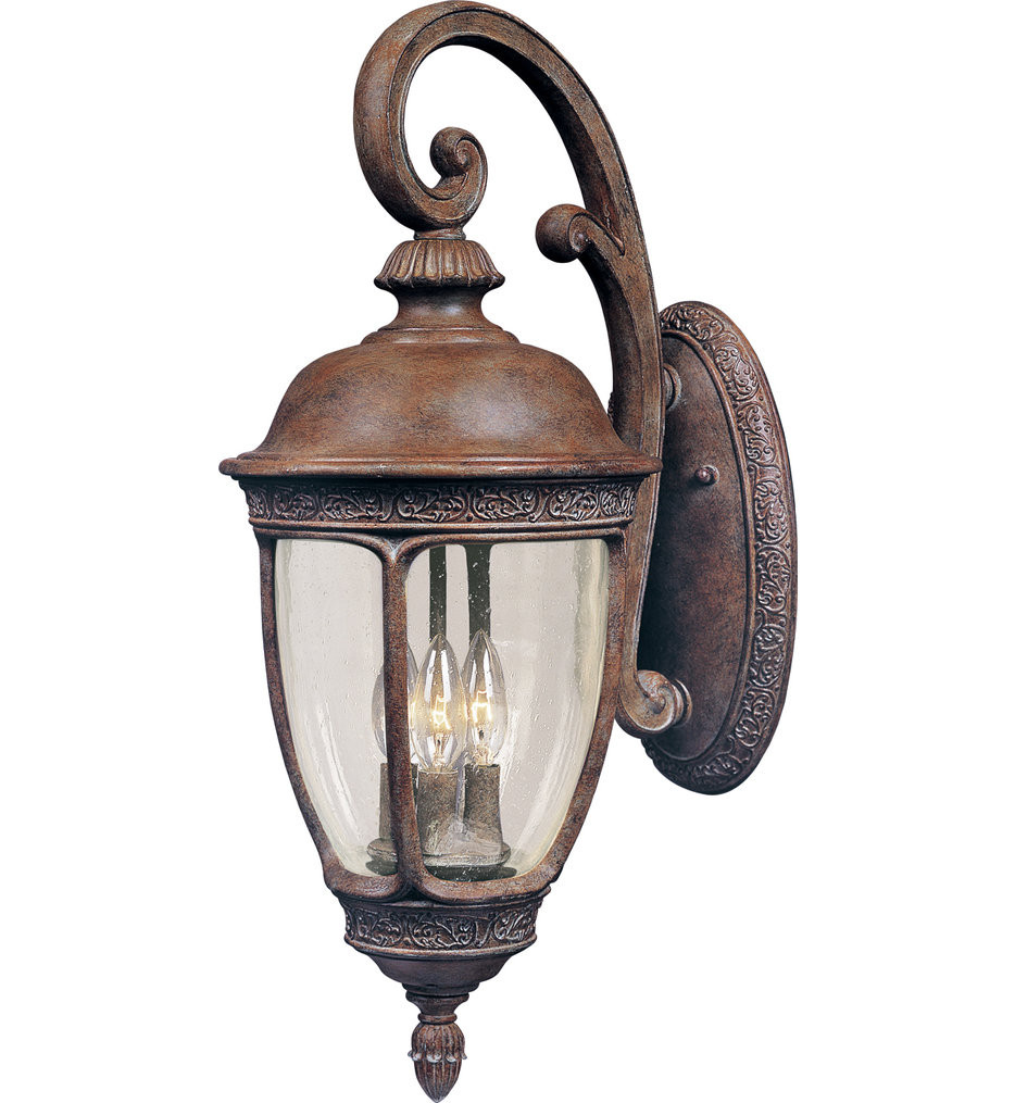 Maxim Lighting - 40464CDSE - Knob Hill Sienna Incandescent 3 Light Outdoor Wall Sconce with Seedy Shade