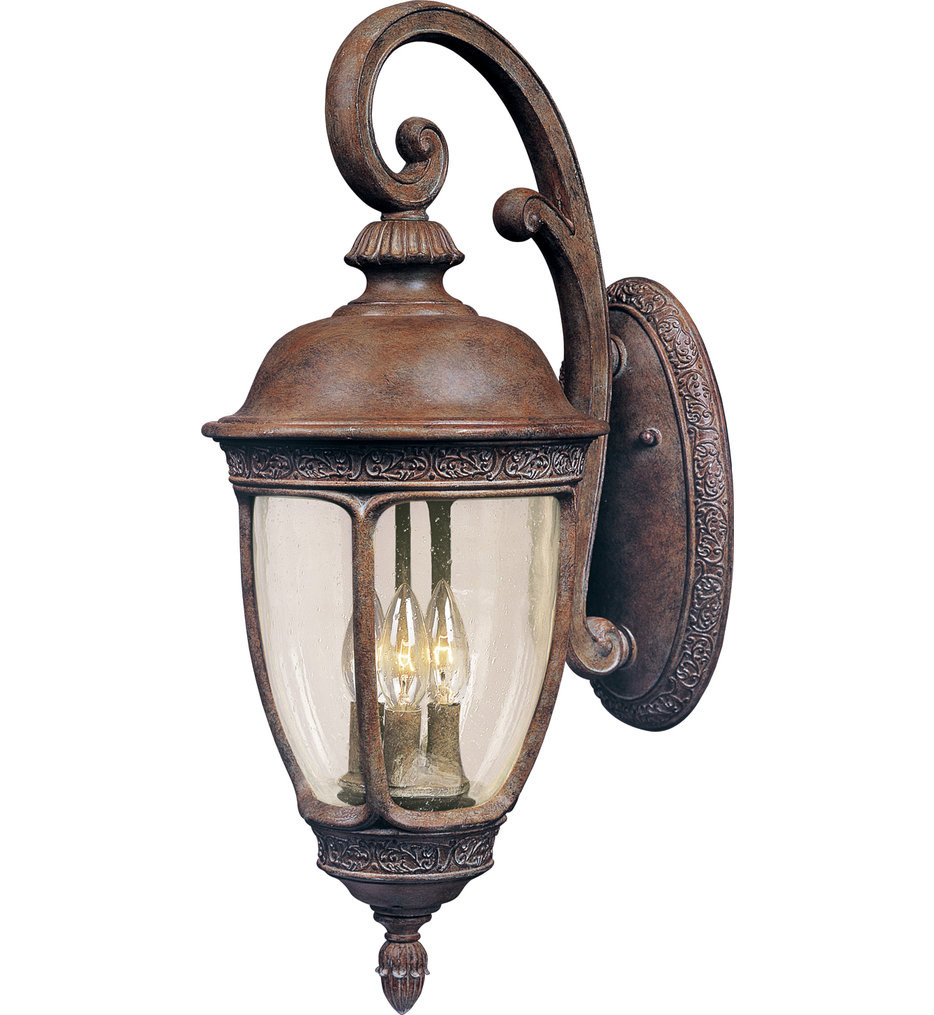 Maxim Lighting - 40465CDSE - Knob Hill Sienna Incandescent 3 Light Outdoor Wall Sconce with Seedy Shade