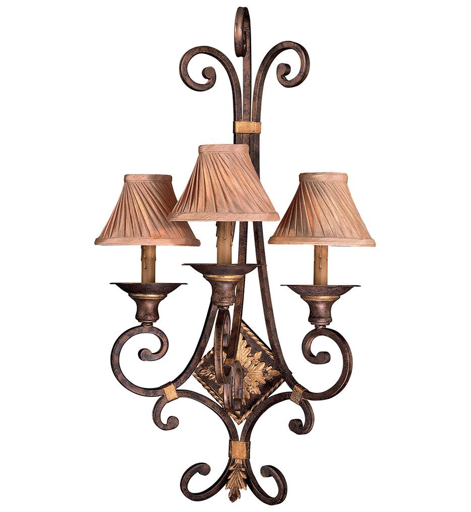 Metropolitan Lighting - N2231-355 - Zaragoza 3 Light Golden Bronze Wall Sconce