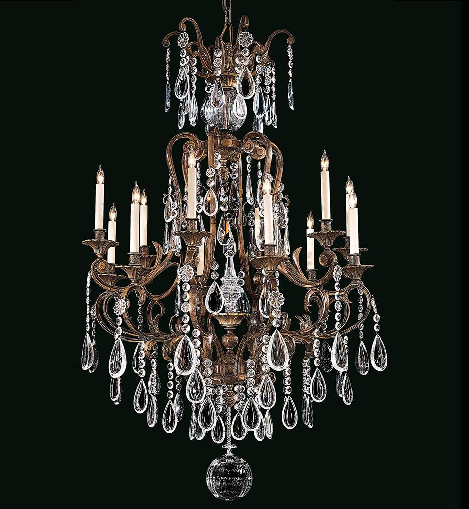 Metropolitan Lighting - N950115 - Vintage/Crystal 12 Light 62 Inch Brass Chandelier