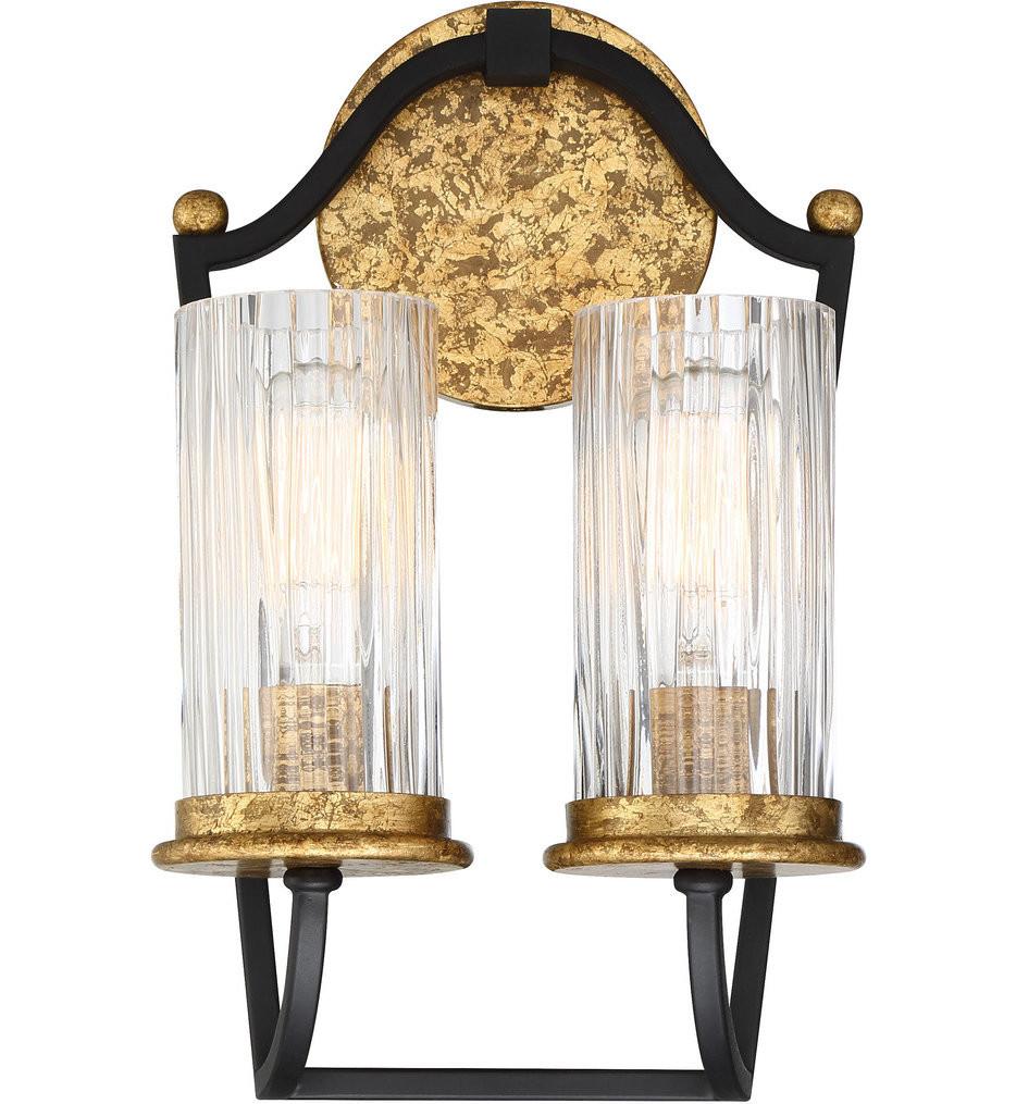 Minka-Lavery - 4511-100 - Posh Horizon Sand Black with Gold Leaf 2 Light Wall Sconce