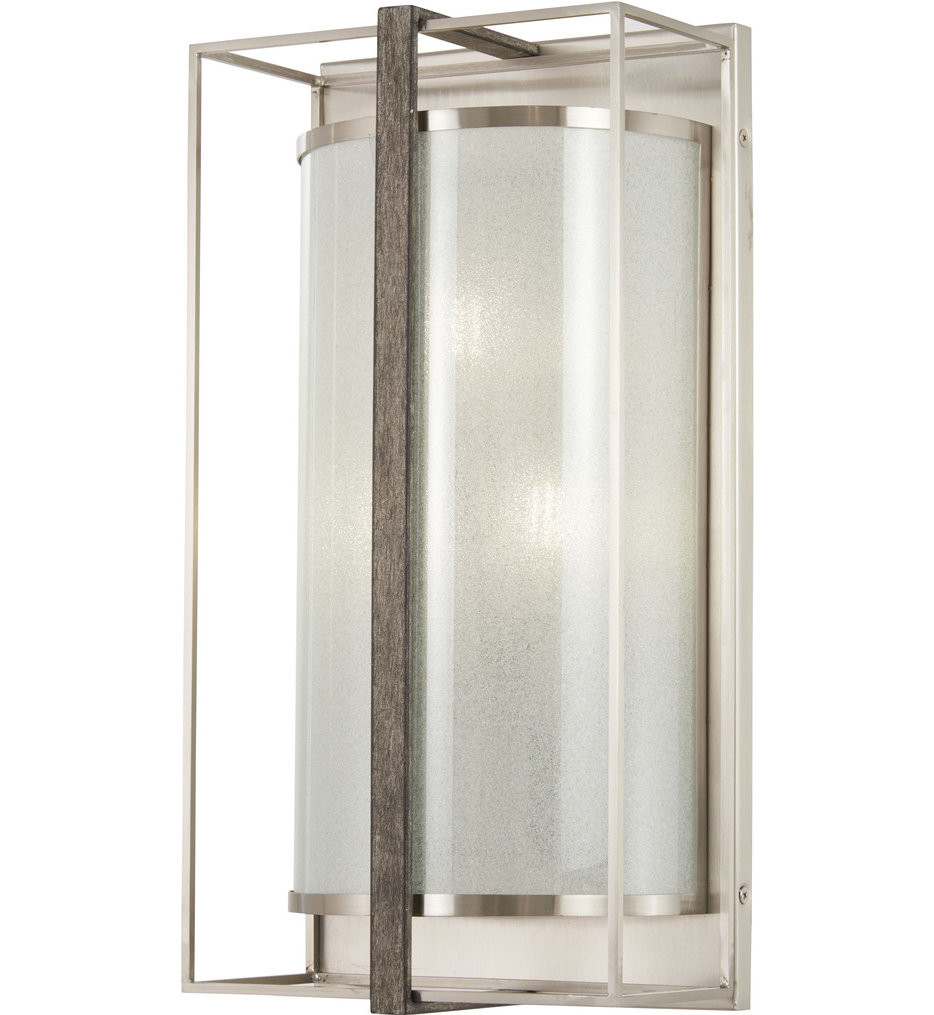 Minka-Lavery - 4560-098 - Tyson's Gate Brushed Nickel with Shale Wood 18 Inch 3 Light Wall Sconce