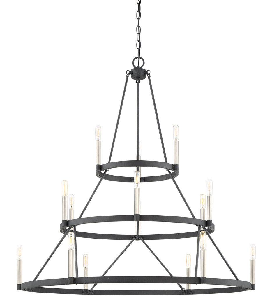 Quoizel - DOR5015MB - Doran Mottled Black 15 Light Chandelier