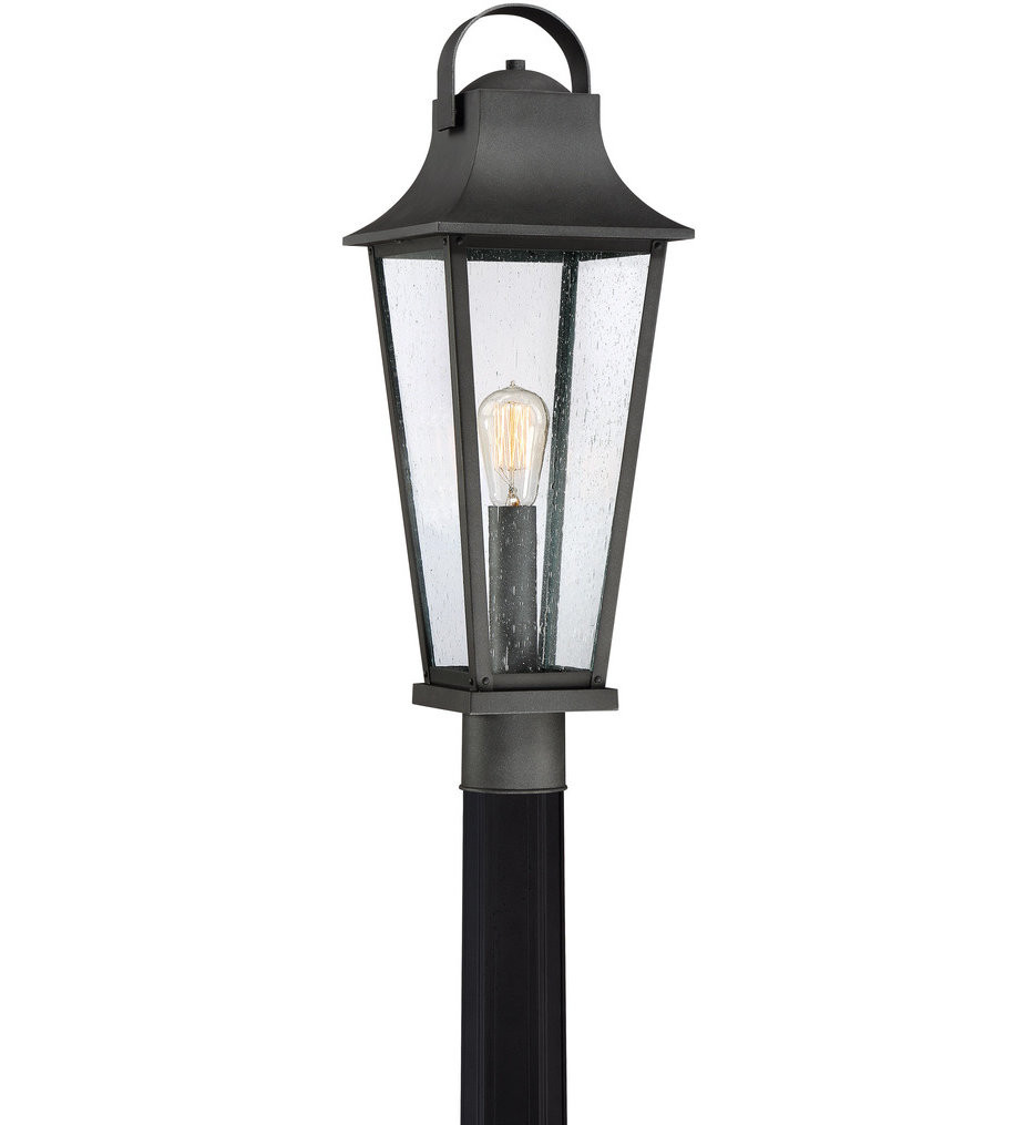 Quoizel - GLV9008MB - Galveston Mottled Black Outdoor Post Lantern
