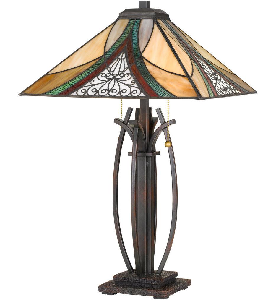 Quoizel - TF3342TVA - Tiffany Valiant Bronze 24.75 Inch Table Lamp with Tiffany Glass