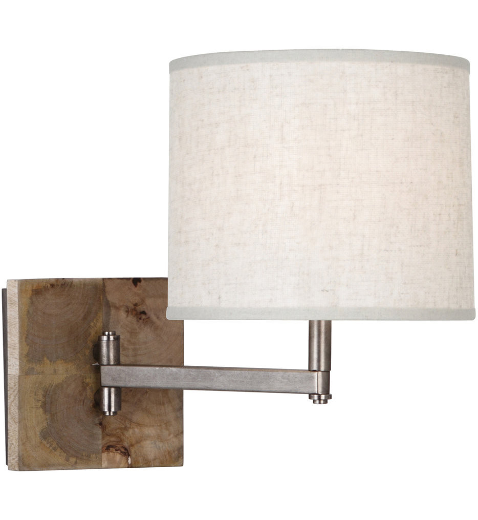 Robert Abbey - 829 - Oliver Unfinished Mango Wood with Patina Nickel Accents Swing Arm Light