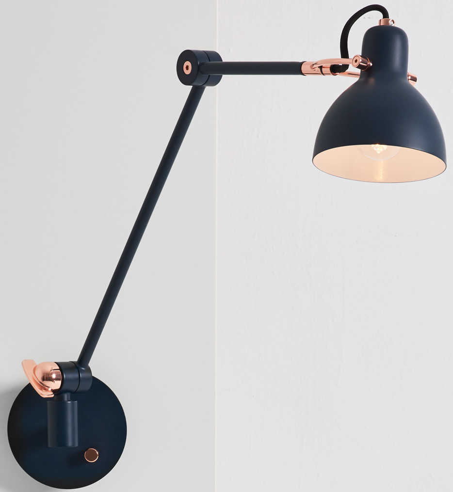 Seed Design - SQ-793MWRL - Laito Gentle Navy/Copper Wall Lamp