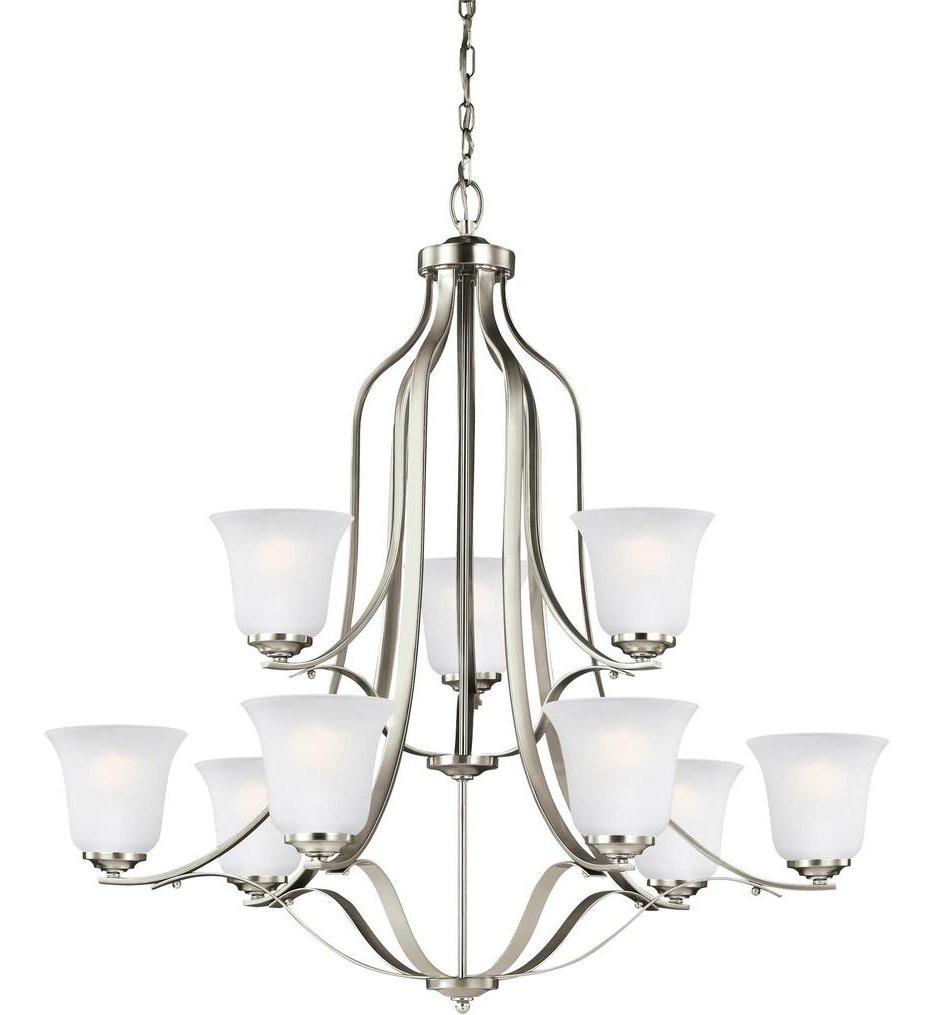 Sea Gull Lighting - 3139009EN3-962 - Emmons Brushed Nickel 9 Light LED Chandelier