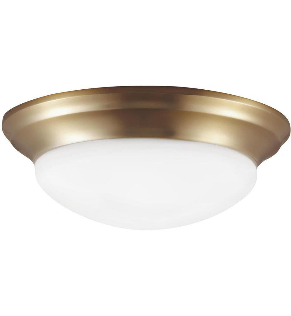 Sea Gull Lighting - 7543593S-848 - Nash Satin Bronze 14 Inch 1 Light Flush Mount