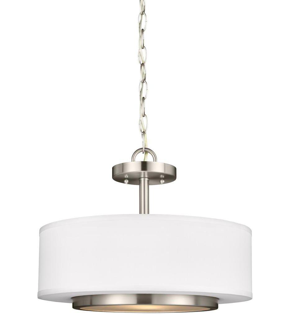 Sea Gull Lighting - 7728002-962 - Nance Brushed Nickel 2 Light Incandescent Semi-Flush/Pendant