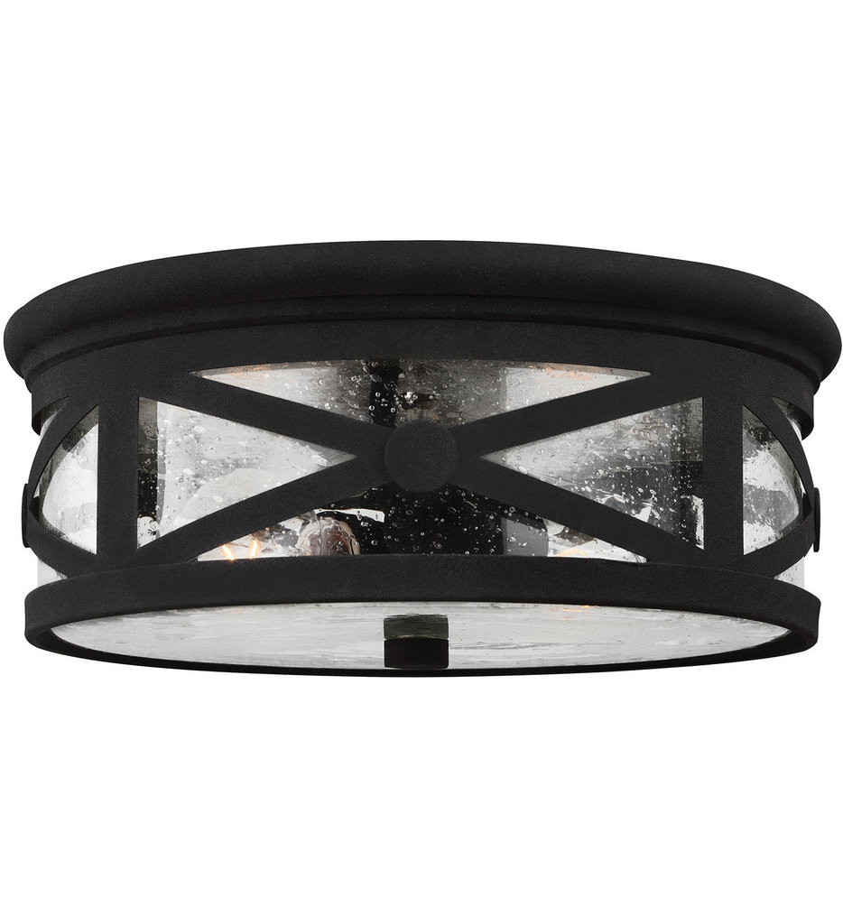 Sea Gull Lighting - 7821402-12 - Lakeview Black 2 Light Outdoor Flush Mount