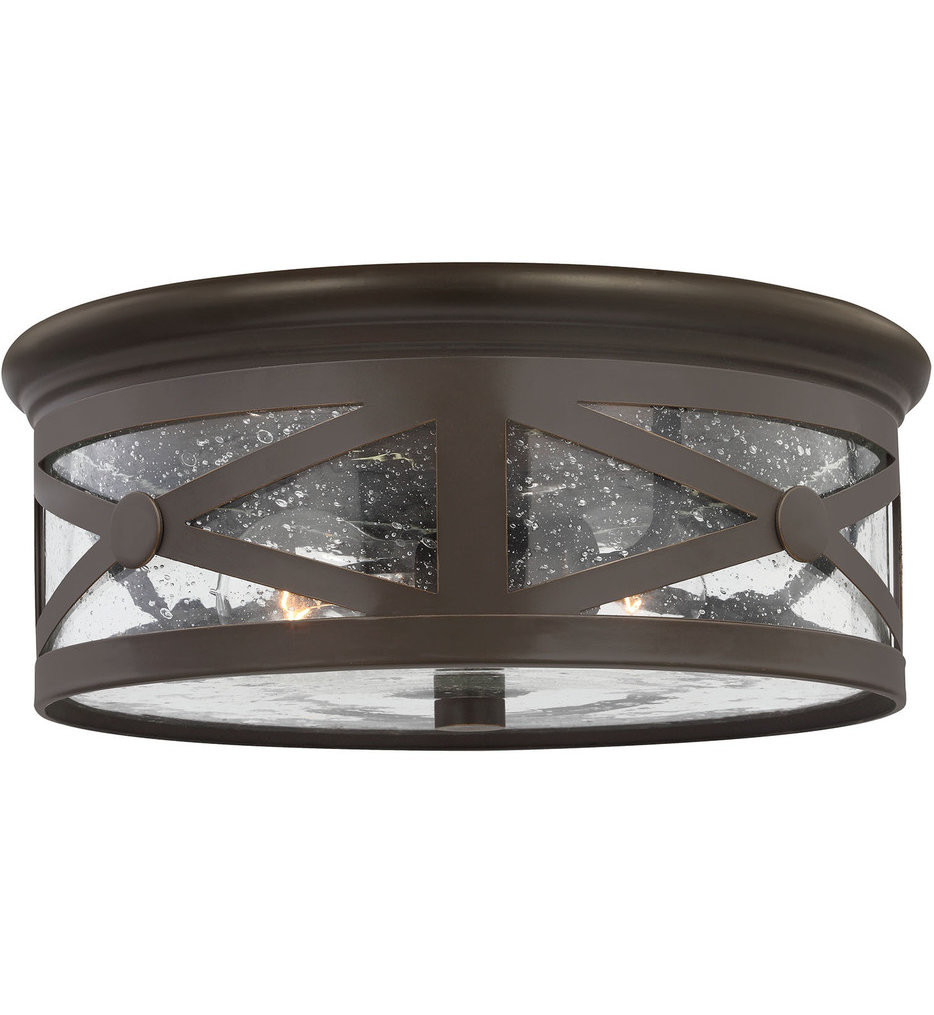 Sea Gull Lighting - 7821402-71 - Lakeview Antique Bronze 2 Light Outdoor Flush Mount