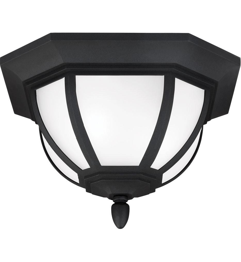 Sea Gull Lighting - 7836302-12 - Childress Black 2 Light Incandescent Outdoor Flush Mount
