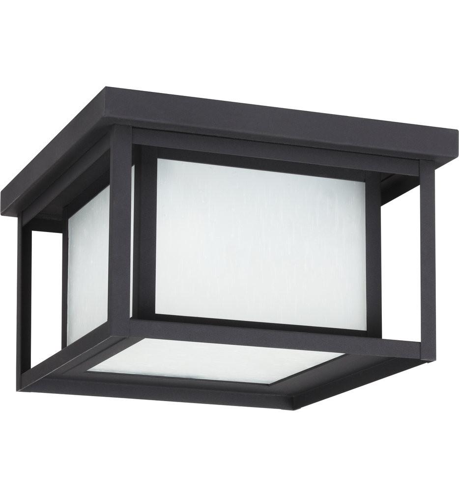 Sea Gull Lighting - 79039-12 - Hunnington Black 2 Light Incandescent Outdoor Flush Mount