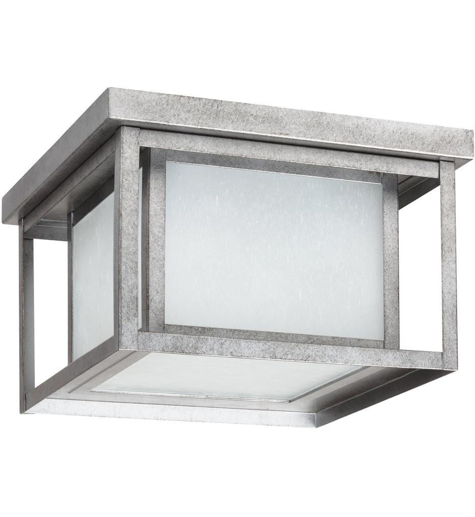 Sea Gull Lighting - 79039EN3-57 - Hunnington Weathered Pewter 2 Light LED Outdoor Flush Mount