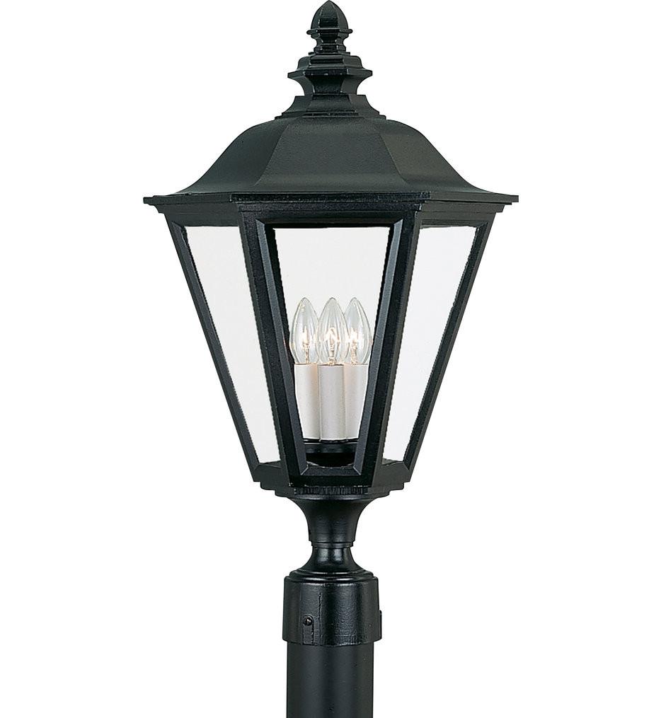 Sea Gull Lighting - Brentwood Black 3 Light Outdoor Post Lantern