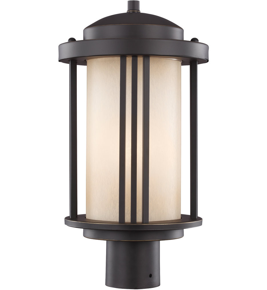 Sea Gull Lighting - 8247901-71 - Crowell Antique Bronze 1 Light Incandescent Outdoor Post Lantern